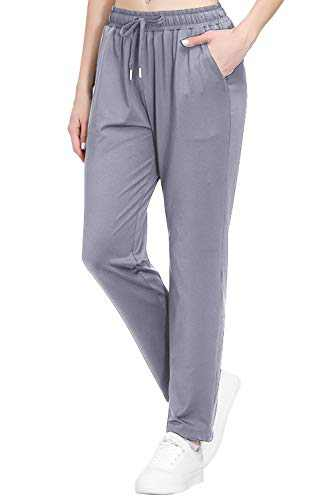 Women's Stretch Lounge Sweatpants Joggers Ankle 7/8 Athletic Track Yoga Dress Pants Gray L