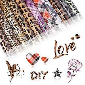"HTV Heat Transfer Vinyl Bundle: 12 Sheets (12x10"") Iron on Vinyl for T-Shirt,(8 Leopard Pattern+2 Buffalo Plaid Pattern+2 Camouflage Pattern) PU Heat Transfer Vinyl for Clothes Bag Hat Pillow Crafts"