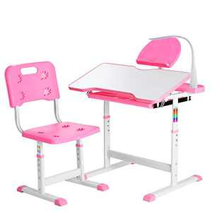 Height Adjustable Kids Desk, Functional Children Desk Study Table, Kids Desk and Chair Set, Children's School Desk with Tilt Desktop, Hook, LED Lamp, Book-rack Storage Drawer for Boys & Girls (Pink)