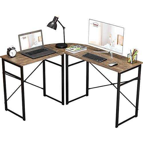 L-Shaped Computer Desk Corner Desk Office Desk Work Table Study Desk PC Laptop Workstation for Home Office,Brown