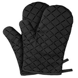 YZEECOL Oven Mitts Silicone Soft Cotton Heat Resistant Fashion Gloves Safe Kitchen Baking Grilling Microwave Oven Mitts Black