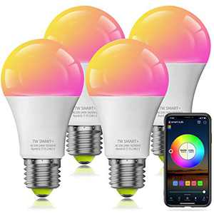 Smart Light Bulb WiFi & Bluetooth Connect, Comoyda RGBCW Color Changing Dimmable LED Bulb A19 E26 7w (60W Equivalent) Compatible with Alexa, Google Home, Siri, No Hub Required (4 Pack)