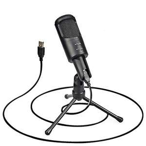 GUERMOK USB MicrophoneComputer Condenser PC Gaming Mic with Tripod Stand and Built-in Windproof Sponge for Streaming, Vocal Recording, YouTube, Skype, Twitch, Plug & Play