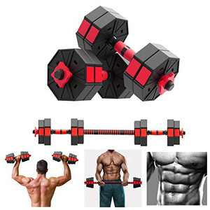 【US Fast Shipment】 Fitness Dumbbells Set,Adjustable Hex Shaped Dumbbells Barbell 2 in 1 with Connector, Adjustable Dumbbell Barbell Sets of (22/88/110 LBS), All-Purpose, Home, Gym, Office (2pc-22LB)