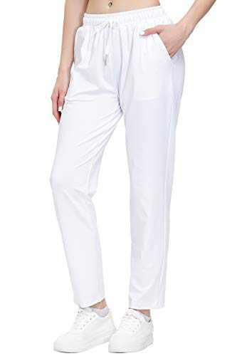 Women's Stretch Lounge Sweatpants Joggers Ankle 7/8 Athletic Track Yoga Dress Pants White XS