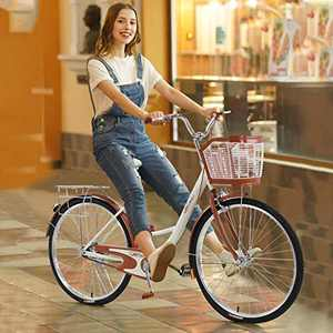26 Inch Women's Cruiser Commuter Bike,Classic High-Carbon Steel Retro Bicycle Beach Cruiser Bicycle Retro Bicycle with Front Basket & Bell,Retro Bicycle Unique Art Deco Scooter (Beige)