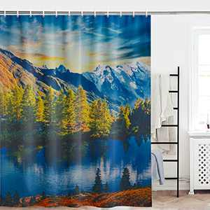 Maccyafst Mountain Lake Scenic Shower Curtain Forest Nature Bathroom Shower Curtain Fabric Sunset Sky Bath Curtain Trees River Shower Curtain Sets with Hooks