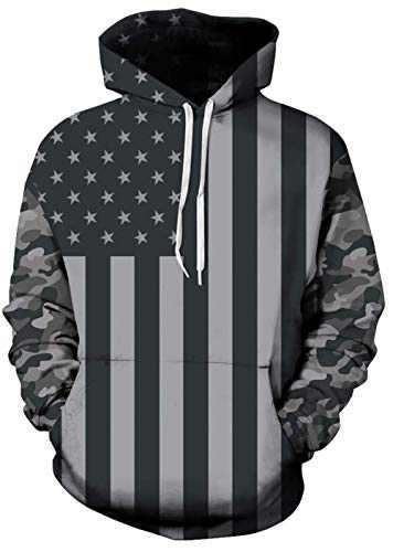 Mens American Flag Hoodie USA Flag Sweatshirt for Women Novelty Pullover Hoodies 3D Realistic Printed Pattern Fashion Sweatshirt with Pocket