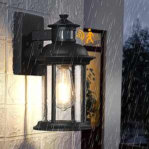 Motion Sensor Outdoor Wall Light, Dusk to Dawn Outdoor Lighting Fixtures Wall Mount, Waterproof Exterior Light Fixture, Black Porch Light with Water Drop Tempered Glass for House Garage, Outside, Yard