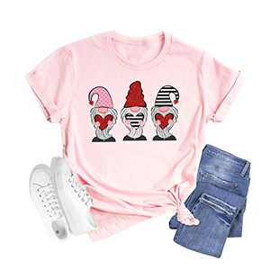 Shiny Gnomes Cartoon Print Shirts for Women Valentines Day Cute Hearts Graphic Short Sleeve Casual Tops (Pink, S)