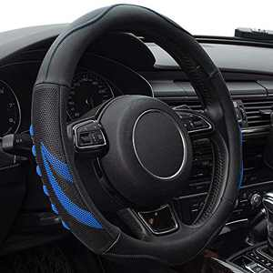 Universal Steering Wheel Cover with Microfiber Leather for Car Truck SUV, Anti-Slip Steering Wheel Cover 15 inchs (Blue)
