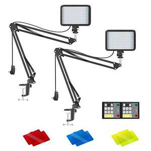 Neewer 2-Pack Conference Lighting Kit with Remote Control for Zoom Call Meeting/Remote Working/Self Broadcast/Live Streaming: 3200K-5600K Dimmable LED Video Light with Scissor Arm Stand/Color Filters