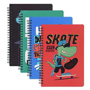 Eliaschen 4 Pack Spiral Notebook, College Ruled Journal with Hardcover, Wirebound Notebook 5.7×8 inch, 81 Sheets (162Pages), Total 648 Pages per pack, Perfect for Office Home School Business