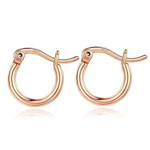 Rose Gold Hoop Earrings for Women, Rose Gold Plated 925 Sterling Silver Post Hypoallergenic Mini Hoops Earrings Dainty Tiny Small Rose Gold Hoop Earrings for Women Jewelry 13mm