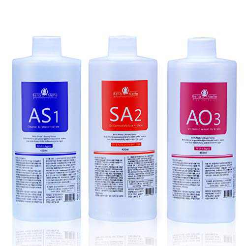 AS1 SA2 AO3 Small Bubble Solution, Skin Care Facial Beauty Aqua Peeling Solution 3x400ml, Hydrafacial Machine Solution for Cleaning Face and Keeping Healthy Care & Beauty