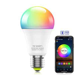 Comoyda Smart Light Bulb WiFi & Bluetooth Connect, RGBCW Color Changing Dimmable LED Bulb A19 E26 7w (60W Equivalent) Compatible with Alexa, Google Home, Siri, No Hub Required, 1 Pack