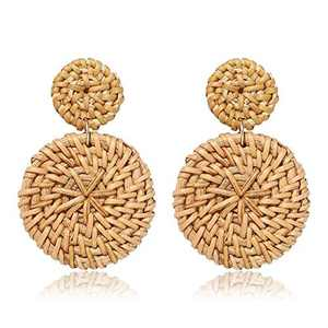 Rattan Earrings Bohemian Earrings Drop Dangle Earrings for Women Girls, Lightweight Wicker Statement Earrings Rattan jewelry for Women Earrings Woven Weaving Braid 1 Pair F1B0017E1D
