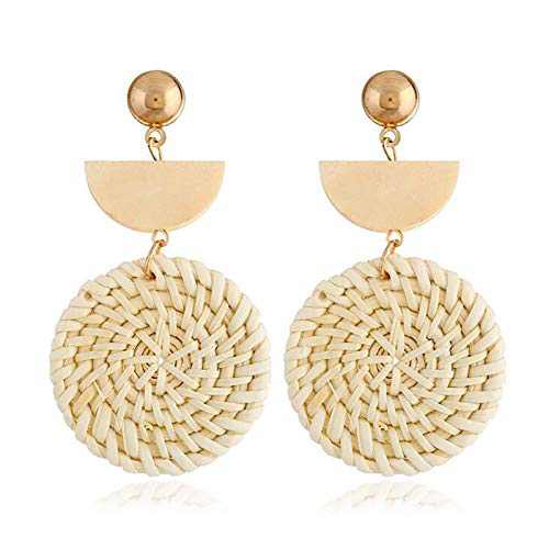 Rattan Earrings Bohemian Earrings Drop Dangle Earrings for Women Girls, Lightweight Wicker Statement Earrings Rattan jewelry for Women Earrings Woven Weaving Braid 1 Pair F1B0014E1D