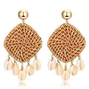 Rattan Earrings Bohemian Earrings Drop Dangle Earrings for Women Girls, Lightweight Wicker Statement Earrings Rattan jewelry for Women Earrings Woven Weaving Braid 1 Pair F1B0018E1D