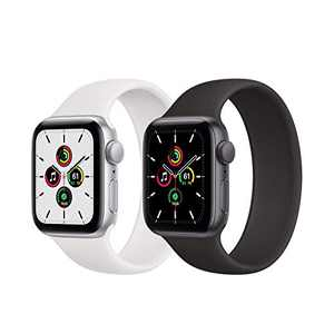 Kuaguozhe 2 Pack Solo Loop Bands Compatible with Apple Watch SE Series 6 Bands, Elastic Sport Silicone Strap Compatible for iWatch Series SE/6/5/4/3/2/1 38mm 40mm 42mm 44mm Women Mens,White & Black