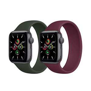 Kuaguozhe 2 Pack Solo Loop Bands Compatible with Apple Watch SE Series 6 Bands,Elastic Sport Silicone Strap Compatible for iWatch Series SE/6/5/4/3/2/1 38mm 40mm 42mm 44mm Women Mens,Cyprus Green&Wine