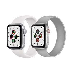 Kuaguozhe 2 Pack Solo Loop Bands Compatible with Apple Watch SE Series 6 Bands, Elastic Sport Silicone Strap Compatible for iWatch Series SE/6/5/4/3/2/1 38mm 40mm 42mm 44mm Women Mens, White & Fog