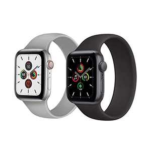 Kuaguozhe 2 Pack Solo Loop Bands Compatible with Apple Watch SE Series 6 Bands, Elastic Sport Silicone Strap Compatible for iWatch Series SE/6/5/4/3/2/1 38mm 40mm 42mm 44mm Women Mens, Fog & Black