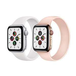 Kuaguozhe 2 Pack Solo Loop Bands Compatible with Apple Watch SE Series 6 Bands, Elastic Sport Silicone Strap Compatible for iWatch Series SE/6/5/4/3/2/1 38mm 40mm 42mm 44mm Women Mens, White&Pink Sand