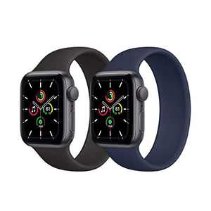Kuaguozhe 2 Pack Solo Loop Bands Compatible with Apple Watch SE Series 6 Bands, Elastic Sport Silicone Strap Compatible for iWatch Series SE/6/5/4/3/2/1 38mm 40mm 42mm 44mm Women Mens,Black &Deep Navy