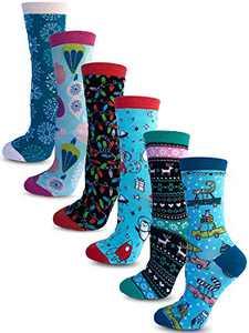 Kalon 6 Pack Women's Christmas Crew Socks Gift Set (Medium, Cutesy)