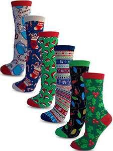 Kalon 6 Pack Women's Christmas Crew Socks Gift Set (Medium, Fun)