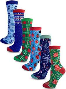 Kalon 6 Pack Women's Christmas Crew Socks Gift Set (Medium, Classic)