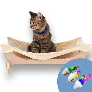 Toby + Atheni Cat Hammock - Perfect Cat Bed & Furniture, Perch for Indoor Cats or Small to Medium Cat and Dog Hammock Bed - Bonus Mouse