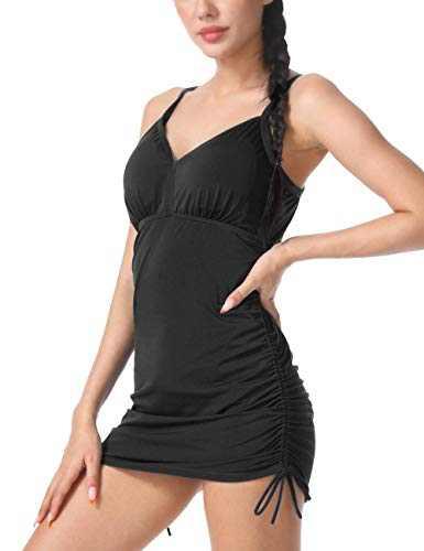 Septangle Women Swimsuit Tops Ruched Tummy Control Bathing Suit Swimwear V Neck Tankini Top,Black,US8