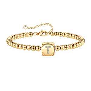 Yoosteel Gold Initial Bracelets for Women, 14K Gold Filled Personalized T Initial Bracelets for Women Girls(T)