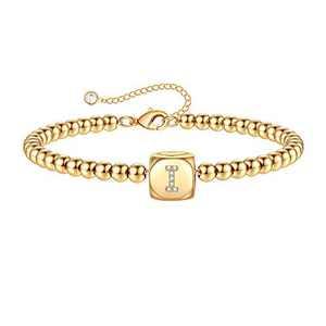 Yoosteel Dainty Bracelets for Women with Initial, 14K Gold Filled Handmade Beads Bracelets Adjustable Letter I Initial Bracelets for Women Jewelry(I)
