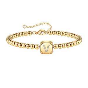 Yoosteel Initial Bracelets for Women Girls, 14K Gold Filled Dainty Handmade Bead Chain Letter V Initial Bracelets MonogramJewelry for Women Girls(V)