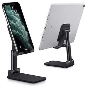 Cell Phone Stand Adjustable Angle Height Phone Stand for Desk Stable and Non Slip Mobile Phone Holder, Compatible with Smartphone / iPhone / iPad, Black
