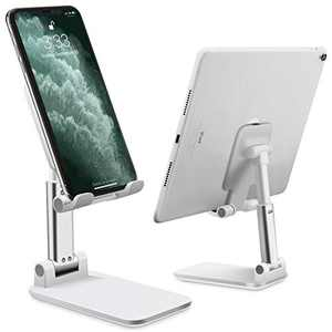 Cell Phone Stand Adjustable Angle Height Phone Stand for Desk Stable and Non Slip Mobile Phone Holder, Compatible with Smartphone / iPhone / iPad, White