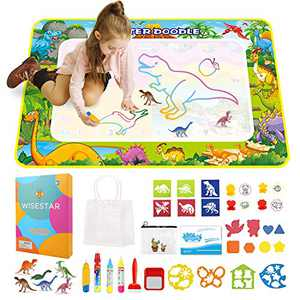 WISESTAR Toddlers Aqua Magic Doodle Mat with Tiny Dinosaur Figurines - 44x28in Water Drawing Mat - Large Mess Free Coloring Book Educational Toy Gift for Kids Boys Girl Age 3 4 5 6 7 8
