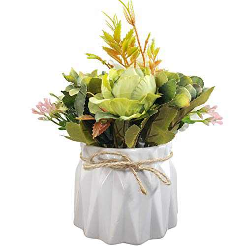 EverWin Artificial Flowers with Ceramic Vase for Decoration Table Centerpieces - Faux Fake Flowers in Vase Table Centerpieces for Home Room Kitchen Decorations, Flowers Arrangements Artificial in Vase