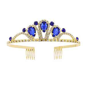 Metal Headband Wedding Crown Princess Queen Tiara Rhinestone Bridal Headpiece with Comb for Valentine's Day Mother's Day Christmas Gifts (Blue)