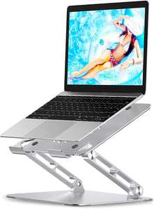 """Babacom Laptop Stand, Adjustable Computer Riser Stand for Desk, Aluminum Ventilated Cooling Notebook Stand Mount with Heat-Vent, Compatible with MacBook Air Pro, Lenovo, Dell, HP, More 10-16"""" Laptops"""