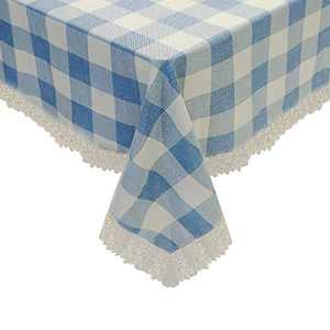 Linen Tablecloth for Rectangle Tables 60 x 84 inch White-Blue,Heat Resistance/Anti-Fading/No Odor/No Shrink Rectangle Table Cover, Nordic Simple Desk Cover Suitable for Party Kitchen Dinning Room