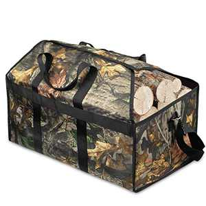 AUROPEAK Firewood Carrier Bag, Firewood Carrier and Stand,Large Waterproof Canvas Log Tote Indoor, Firewood Storage Tote Fire Place Log Holders Outdoor with Handles Security Strap for Camping Brown