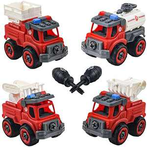 HAOMUK Take Apart Fire Trucks Toys for Boys, 4 in 1 Kids Stem Building Vehicles Toy with Drill, Ideal DIY Gift Toy for Aged 3 4 5 6 Boy Girl Kid Toddler