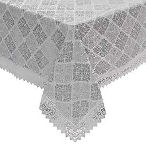 Rectangle Tablecloth 60 x 84inch with Gray 3D Embroidery,Heat Resistance/Anti-Fading/Heavy Weight,Exquisite Luxury Polyester Table Cloth Suitable for Party Kitchen Dining Banquet