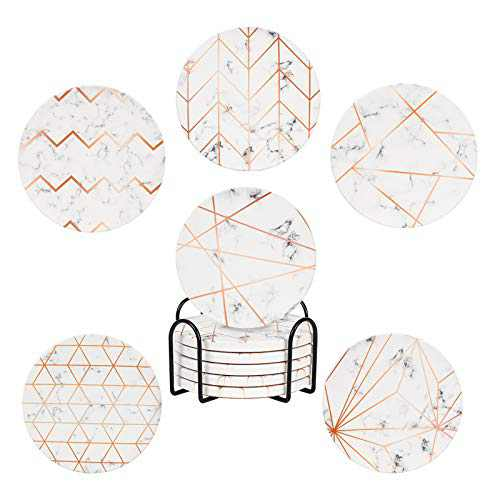 Absorbent Coasters for Drinks with Holder Set of 6, Ceramic Stones with Mix Patterns Protects Furniture Suitable for House Decor, Living Room, Outdoor Coasters, Housewarming by TDTOK