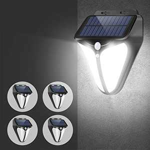 A-ZONE L21 Solar Lights Outdoor, Solar Motion Lights Outdoor IP65 Waterproof, Wireless LED Solar Motion Sensor Lights Outdoor with 3 Optional Modes for Yard Garage Deck,4-Pack, Black