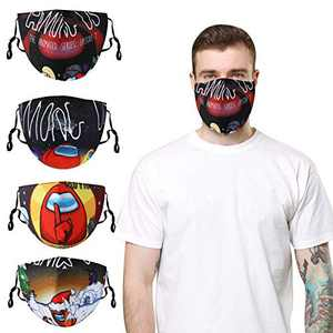 Among Us Face Mask Cloth Face Cover,4 Pcs Among Us Face Protection Masks,Washable Reusable Cloth Face Bandanas with Adjustable Elastic Earloop for Mens/Womens